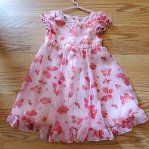 Butterfly and flower pink dress